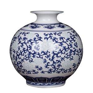 Fine Asianliving Jarrón de Porcelana Chino Pintado a Mano Azul y Blanco