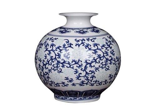 Fine Asianliving Vase Chinois Bleu et Blanc Peint à la Main