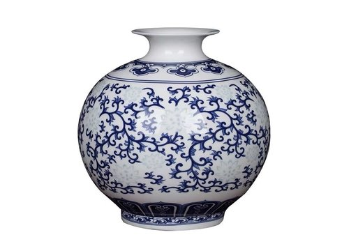 Fine Asianliving Vaso Cinese in Ceramica Porcellana Dipinto a Mano Blu e Bianco