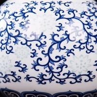 Jarrón de Porcelana Chino Pintado a Mano Azul y Blanco