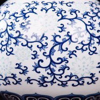 Vaso Cinese in Ceramica Porcellana Dipinto a Mano Blu e Bianco