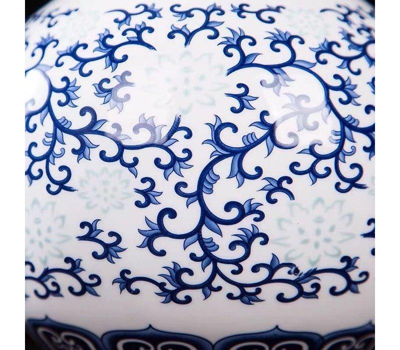 Chinese Vaas Porselein Handgeschilderd Blauw-Wit