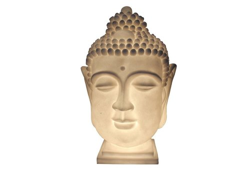 Fine Asianliving Sfeerlamp Nachtlamp Boeddha Hoofd Zandsteen Handgemaakt 27.3x28.3x41.3cm
