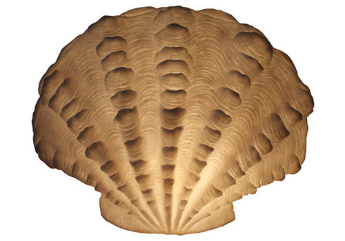 Fine Asianliving Lampada da Tavolo in Arenaria Capasanta Ondulata 43.6x23.5x34cm