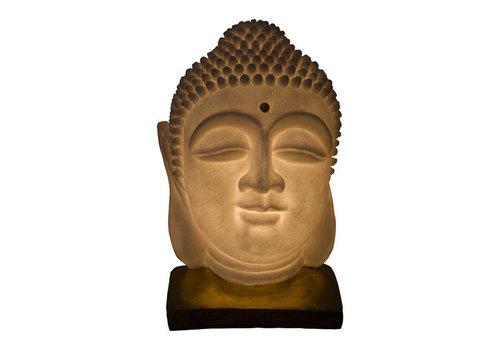 Fine Asianliving Sfeerlamp Nachtlamp Boeddha Hoofd Zandsteen met Standaard Handgemaakt 20.3x20.3x29.3cm