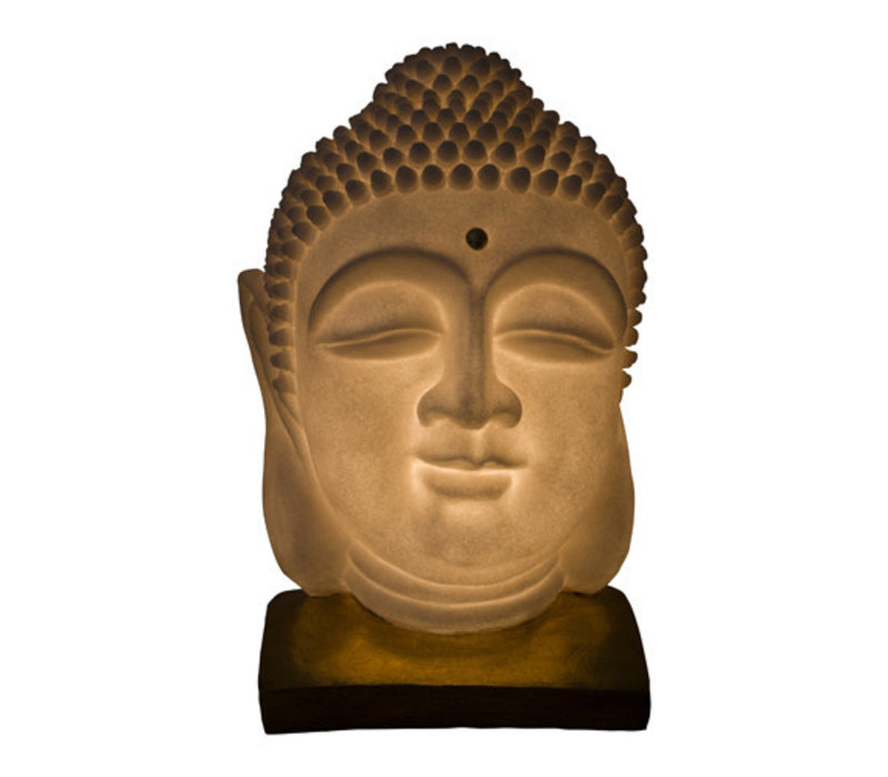 Fine Asianliving Sandstone Buddha Lamp on Base 20.3x20.3x29.3cm