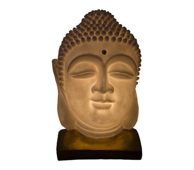 Sfeerlamp Nachtlamp Boeddha Hoofd Zandsteen met Standaard Handgemaakt 20.3x20.3x29.3cm