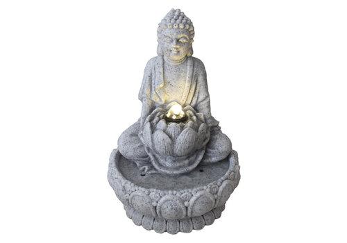 Fine Asianliving Zimmerbrunnen Sandstein Buddha auf Lotus 21.5x31.2cm