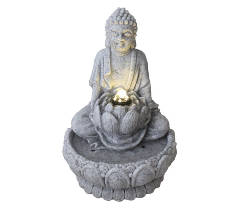 Fine Asianliving Sandstone Buddha on Lotus Fontain 21.5x31.2cm