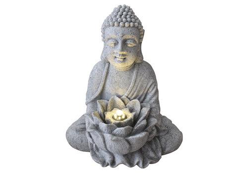 Fine Asianliving Fontaine d'Intérieur Bouddha avec Lotus 31.5x26.8x37cm