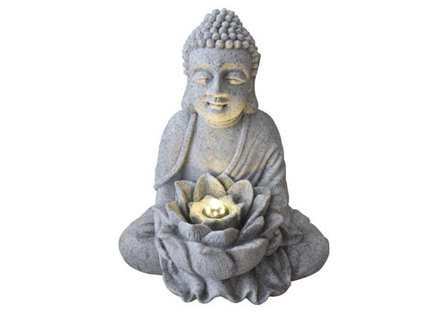 Fine Asianliving Sandstone Buddha with Lotus Fountain 31.5x26.8x37cm