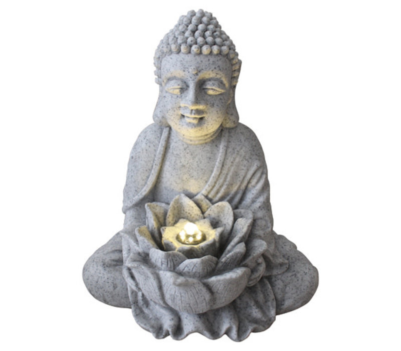 Fine Asianliving Sandstone Buddha with Lotus Fontain 31.5x26.8x37cm