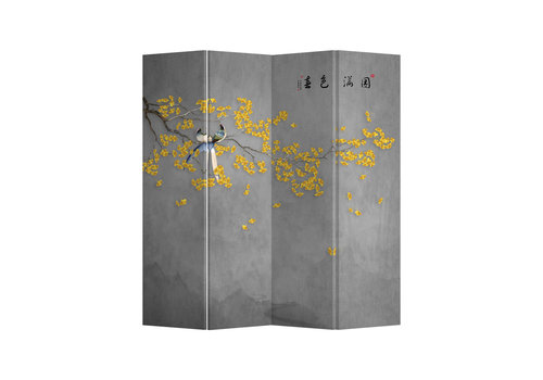 Fine Asianliving Paravento Divisori in Tela L160xA180cm 4 Pannelli Fiori Gialli