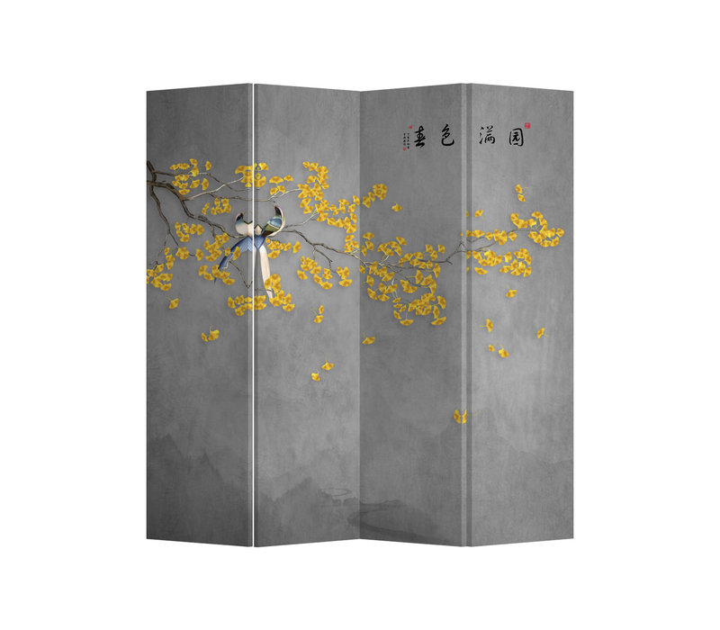 Fine Asianliving Room Divider Privacy Screen 4 Panel Yellow Blossoms W160xH180cm