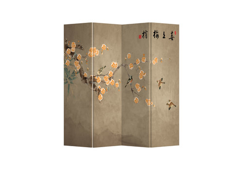 Fine Asianliving Biombos  Separador de Habitaciones 4 Paneles Lona De Doble Cara Chinese Plum Blossoms L160xH180cm