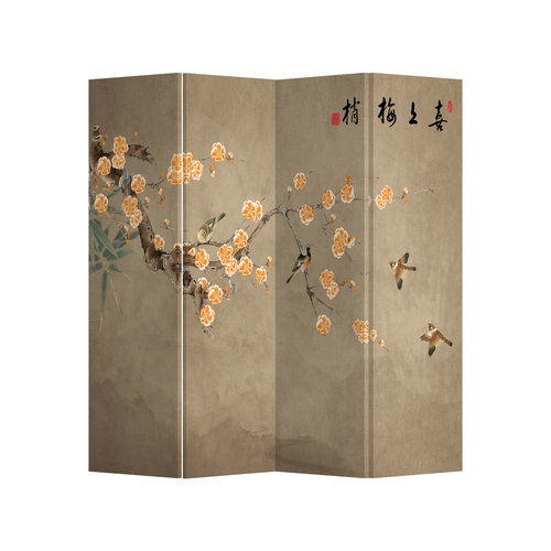 Fine Asianliving Room Divider Privacy Screen 4 Panel Chinese Plum Blossoms W160xH180cm
