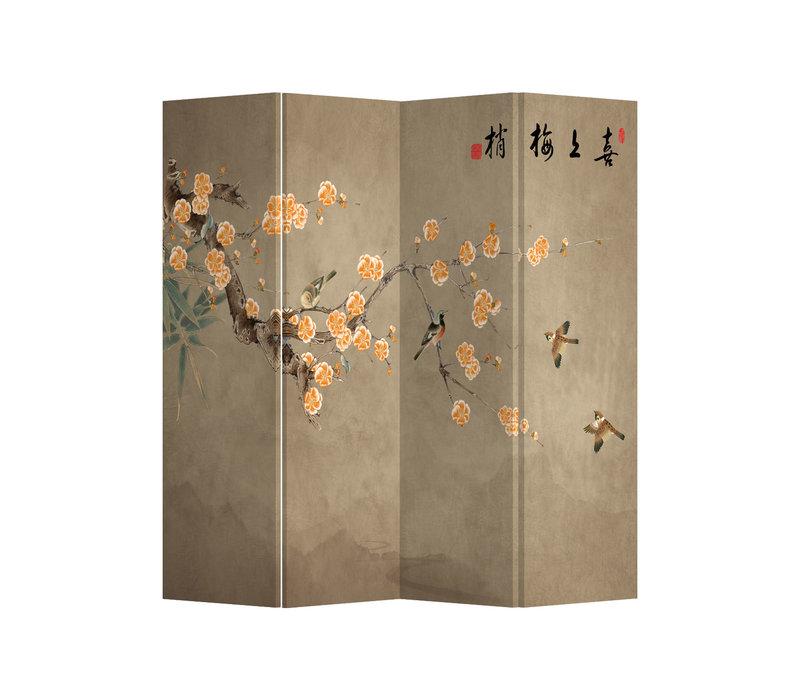 Fine Asianliving Paravento Divisori Tela 4 Pannelli Pieghevole Separatore Chinese Plum Blossoms L160xH180cm