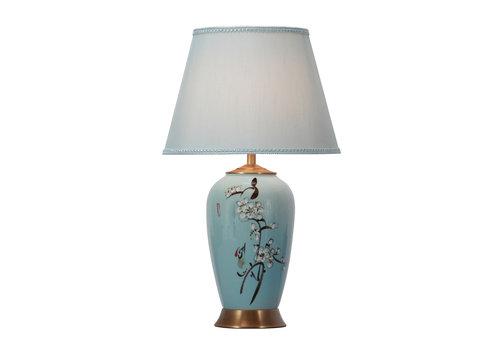 Fine Asianliving Chinesische Tischlampe Porzellan mit Schirm Handbemalt Blau Blüten