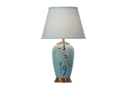 Fine Asianliving Lámpara de Mesa de Porcelana con Pantalla Pintada a Mano Azul Flores