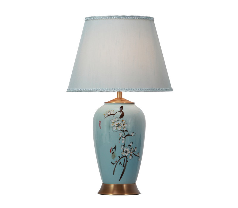 Chinese Table Lamp Porcelain with Lampshade Handpainted Blue Blossoms
