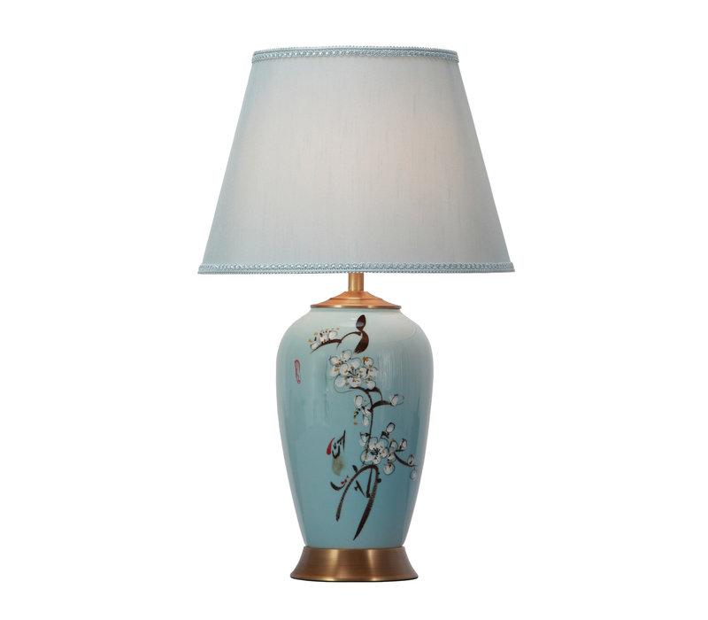 Chinese tafellamp Porselein Blauw Handgeschilderd met Kap