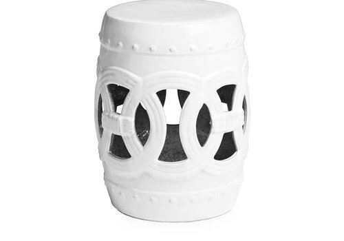 Fine Asianliving Fine Asianliving Ceramic Garden Stool Porcelain Coin White D32xH43cm
