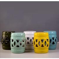 Fine Asianliving Ceramic Garden Stool Porcelain Chinese Coin White D32xH43cm