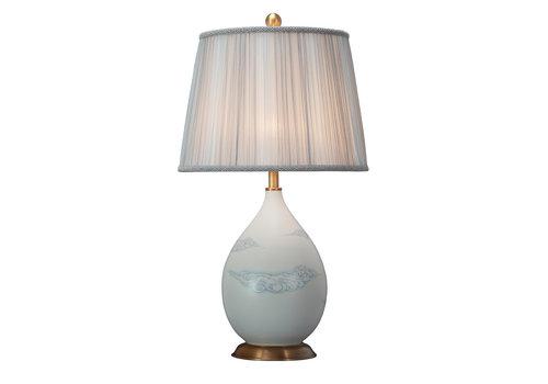 Fine Asianliving Lámpara de Mesa de Porcelana China con Pantalla Pintada a Mano