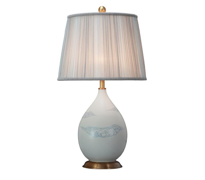 Chinese Tafellamp Porselein met Kap Wolken