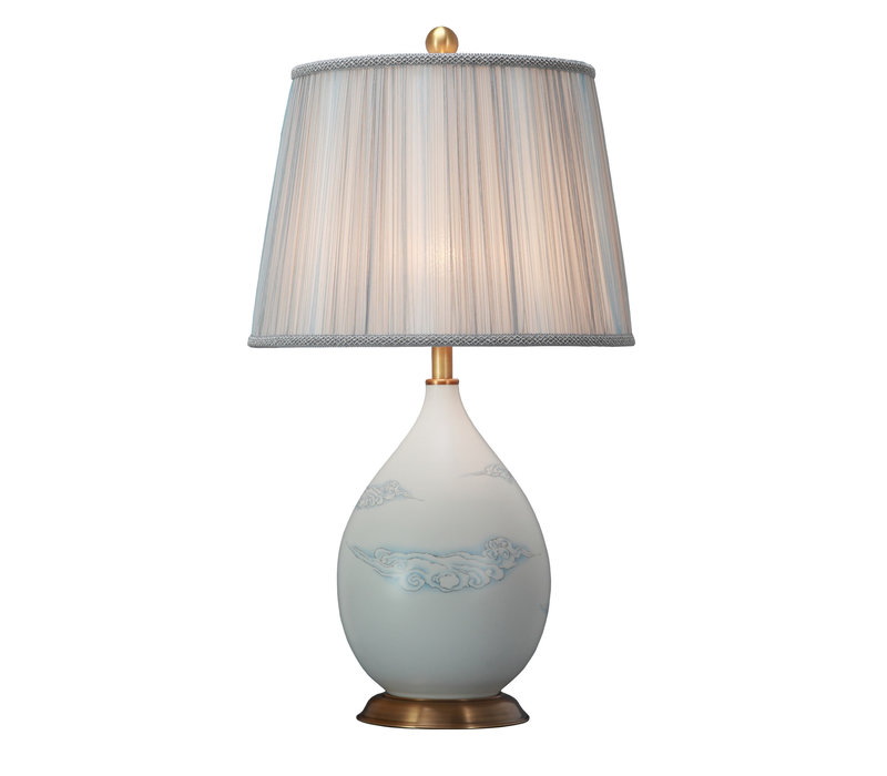 Lámpara de Mesa de Porcelana China con Pantalla Pintada a Mano