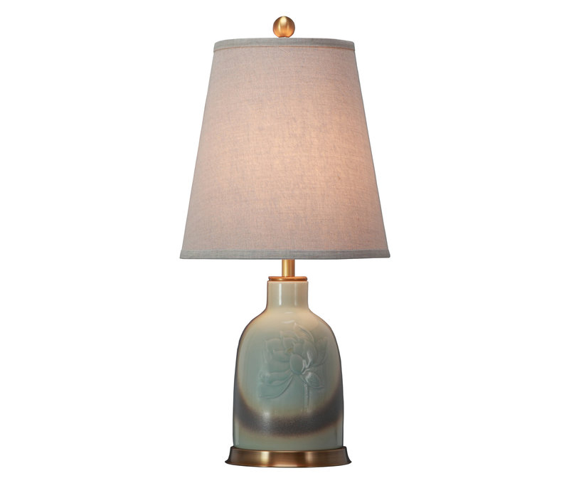 Chinese Table Lamp Porcelain with Lampshade Handpainted