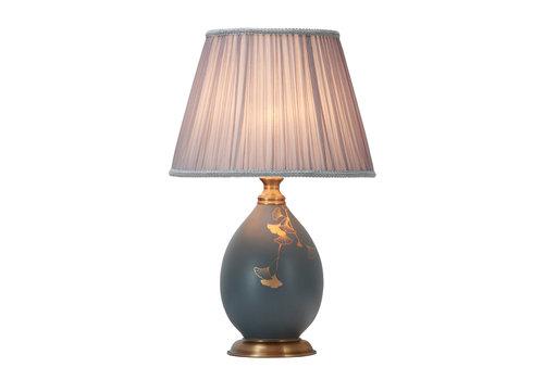 Fine Asianliving Chinesische Tischlampe Porzellan mit Schirm Handbemalt Gold
