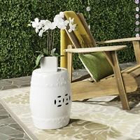 Fine Asianliving Ceramic Garden Stool Porcelain Asian Style White