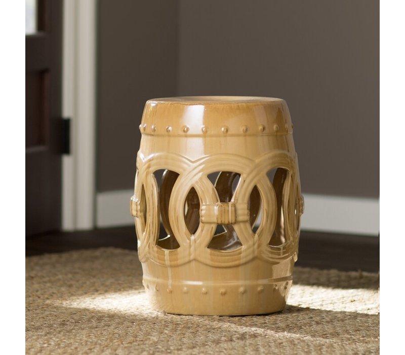 Fine Asianliving Ceramic Garden Stool Porcelain Coin Beige D32xH43cm