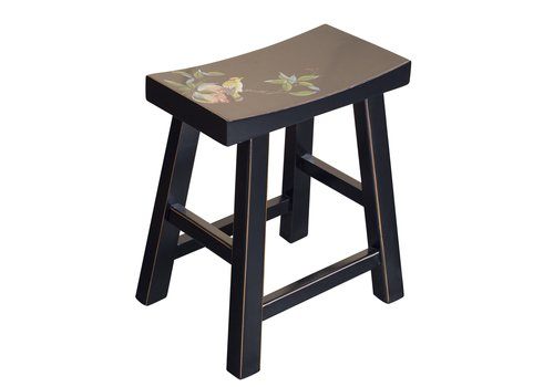 Fine Asianliving Chinese Stool Handpainted Blossoms Black
