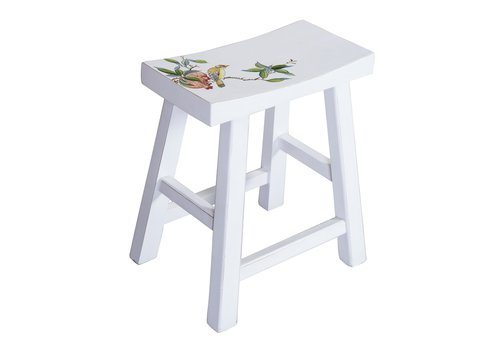 Fine Asianliving Chinese Stool Hand-painted Blossoms White