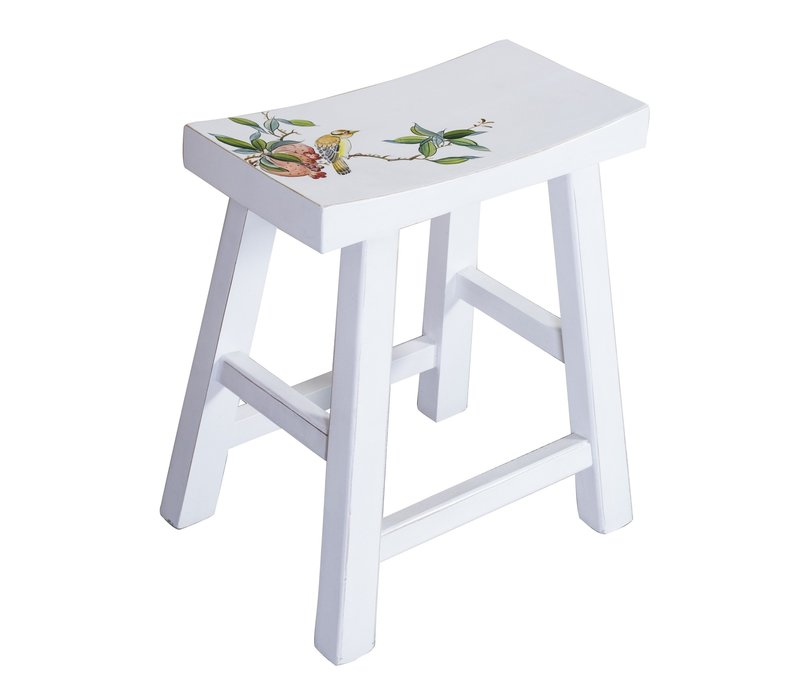 Chinese Stool Hand-painted Blossoms White
