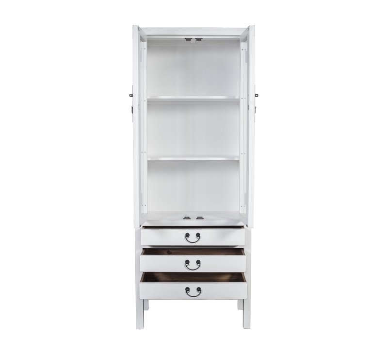 Chinese Bookcase Glass Door Cabinet White W70xD40xH182cm