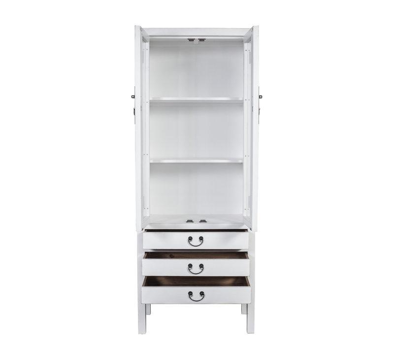 Chinesisches Bücherregal Vitrine Glastür Weiß B70xT40xH182cm