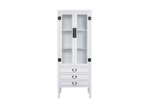 Fine Asianliving Chinese Bookcase Glass-door Cabinet White W70xD40xH182cm