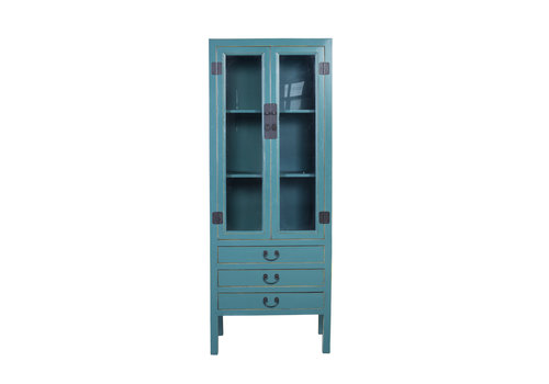 Fine Asianliving Chinese Bookcase Glass-door Cabinet Blue W70xD40xH182cm