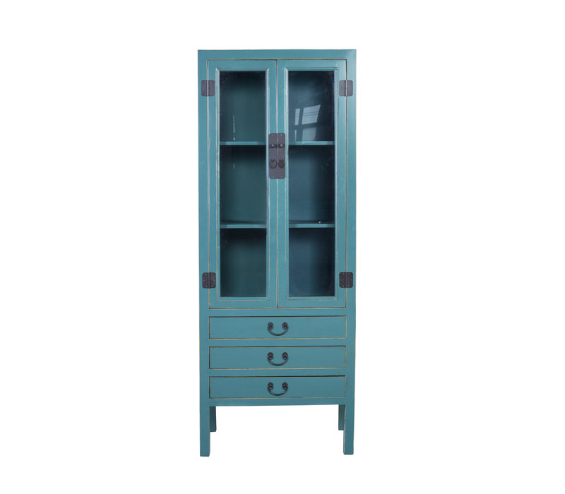 Chinese Bookcase Glass-door Cabinet Blue W70xD40xH182cm