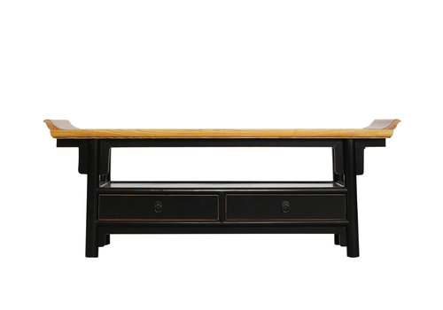 Fine Asianliving Chinese TV Stand Bench Black - Qiaotou W140xD38xH55cm