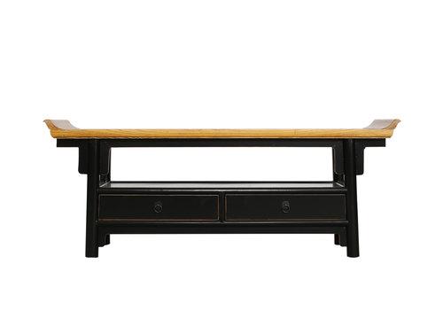 Fine Asianliving Fine Asianliving chinois meuble TV chinois Qiaotou noir avec deux tiroirs