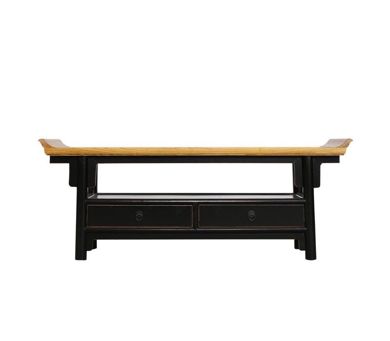 Fine Asianliving chinois meuble TV chinois Qiaotou noir avec deux tiroirs
