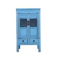 Armoire Chinoise Fait Main Bleu Vintage L57xP38xH105cm
