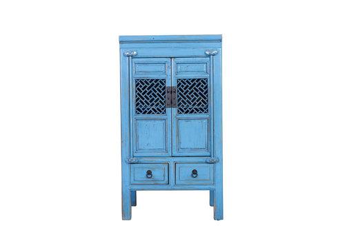 Fine Asianliving Chinese Kast Handgesneden Vintage Blauw L57xB38xH105cm