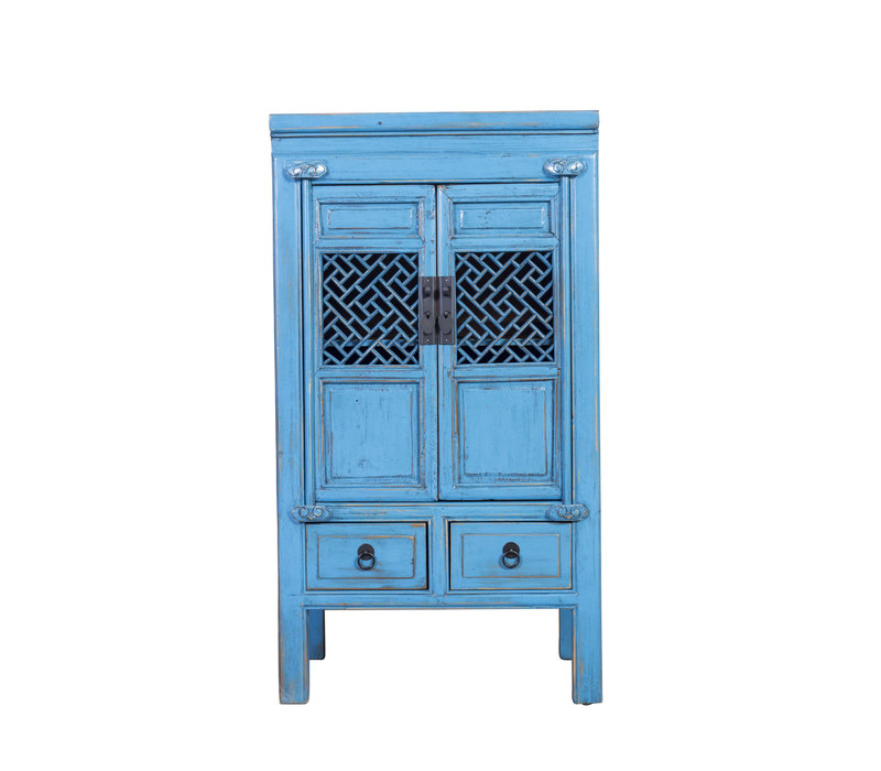 Chinese Cabinet Handcrafted Vintage Blue L57xW38xH105cm