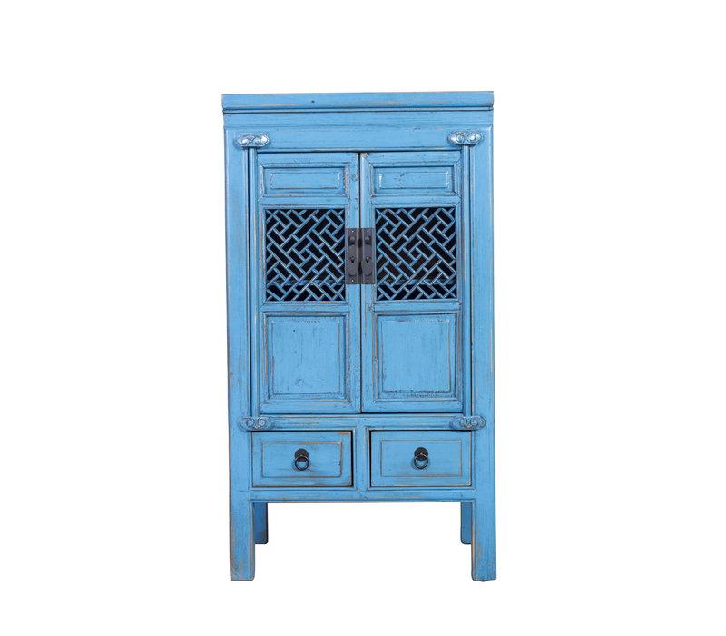Chinese Kast Handgesneden Vintage Blauw B57xD38xH105cm