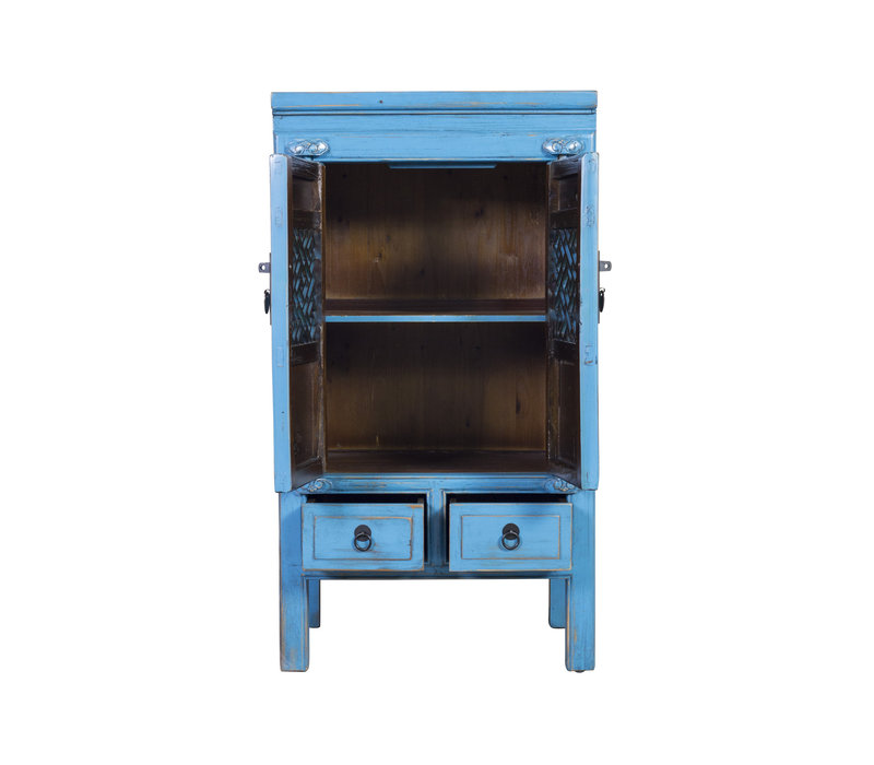 Fine Asianliving Chinese Cabinet Handcrafted Vintage Blue L57xW38xH105cm